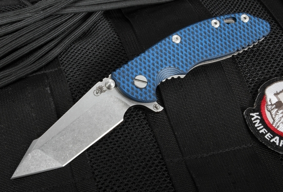 """Hinderer Knives XM-18 3.5"""" FATTY Edition Harpoon - Black and Blue"""