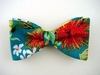 "Hawaiian Bow Tie ""Ohi'a Lehua""- Teal Bowtie - Tropical Flowers Bow tie"