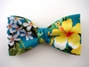 "Bow Tie ""Yellow Hibiscus""  B2001- teal"