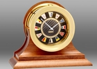 Chelsea Brass Flag Clock on Traditional Cherry base 4.5 Inch