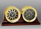 Chelsea Brass Flag Clock & Barometer on Double Base 4.5 Inch