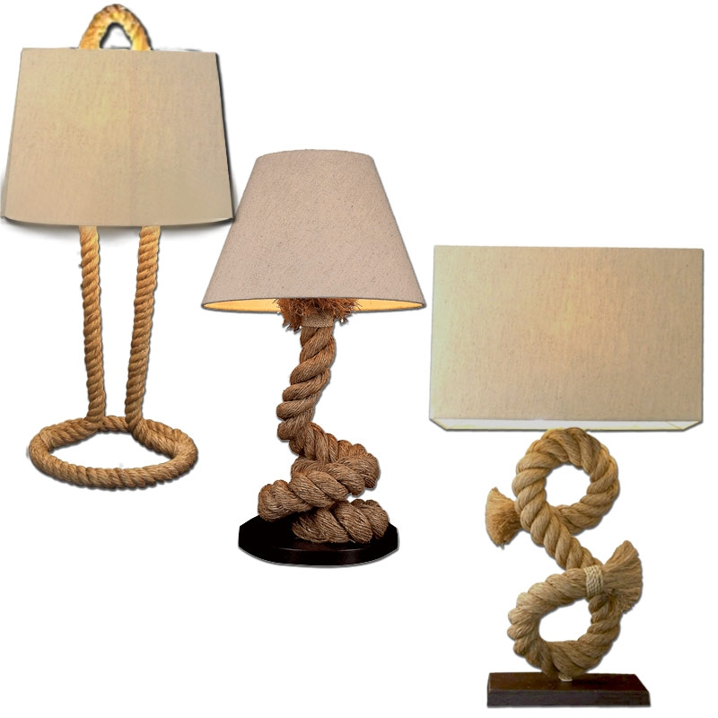 pier rope lamps these awesome decorative nautical lamps are made by a. Black Bedroom Furniture Sets. Home Design Ideas