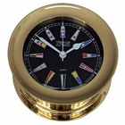 Weems & Plath  Atlantis Quartz Clock Black Dial w/ Color Flags