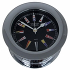 Weems & Plath  Chrome Plated Atlantis Quartz Clock, Black Dial w/ Color
