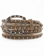 3D Angel Ranch Women's Aztec Stone Belt - Light Brown