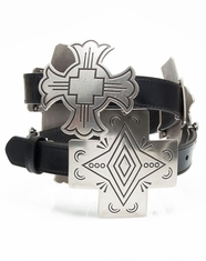 3D Angel Ranch Women's Cross Concho Belt - Black/Antique Silver (Closeout)