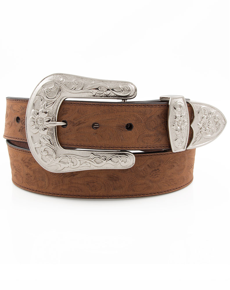 3D Angel Ranch Women's Embossed Floral Belt - Brown (Closeout)