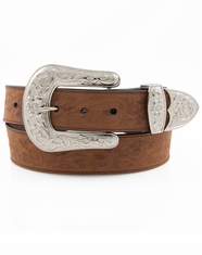 3D Angel Ranch Women's Embossed Floral Belt - Brown