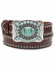 3D Angel Ranch Women's Turquoise Stud Belt - Brown