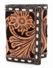 3D Buck Stitch Floral Bifold Wallet - Black Crackle