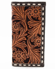 3D Buck Stitch Floral Rodeo Wallet - Black Crackle