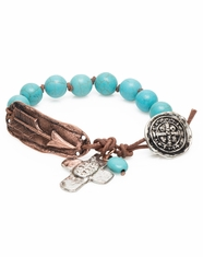 3D Silver Strike Women's Copper Arrow Bracelet - Turquoise