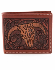 3D Tooled Western Steer Head Bifold Wallet - Tan
