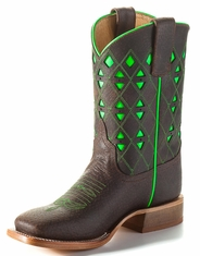 Anderson Bean Kid's Square Toe Boots - Brown/Lime