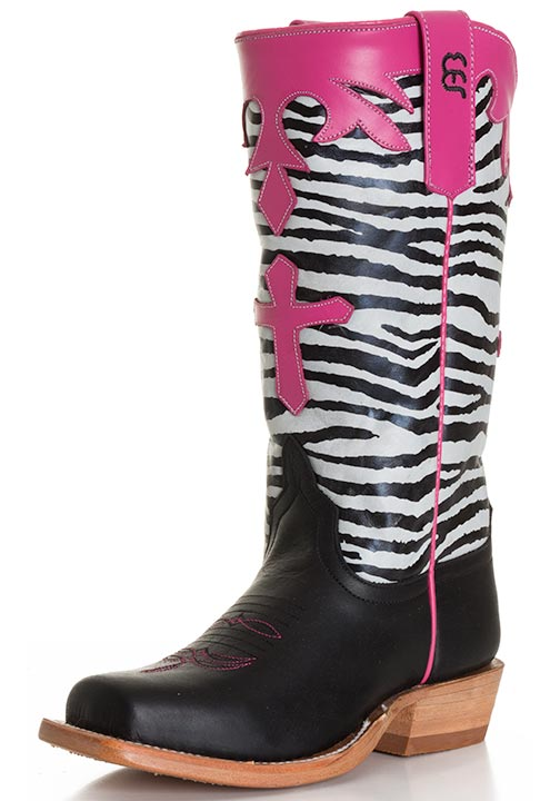Anderson Bean Kids Tall Zebra Top With Cross Cowboy Boots