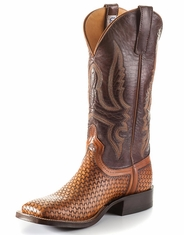 Anderson Bean Men's Square Toe Basket Weave Boots - Brown