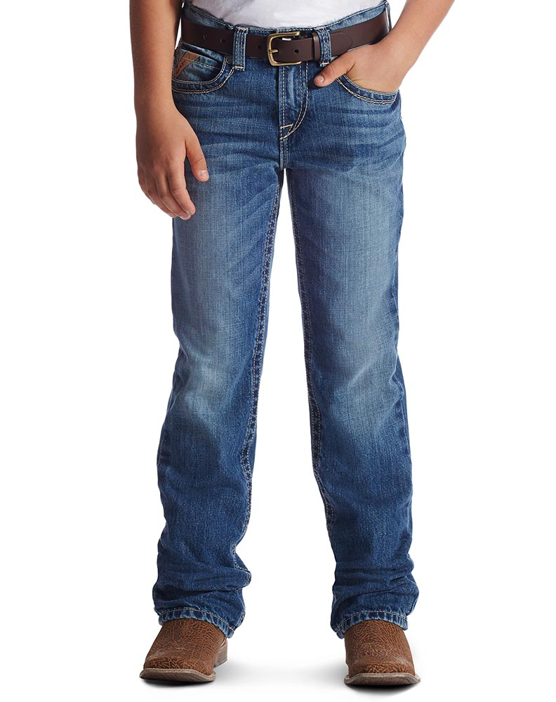 Ariat Boy's B4 Relaxed Boot Leg Jeans - Medium Wash (Closeout)