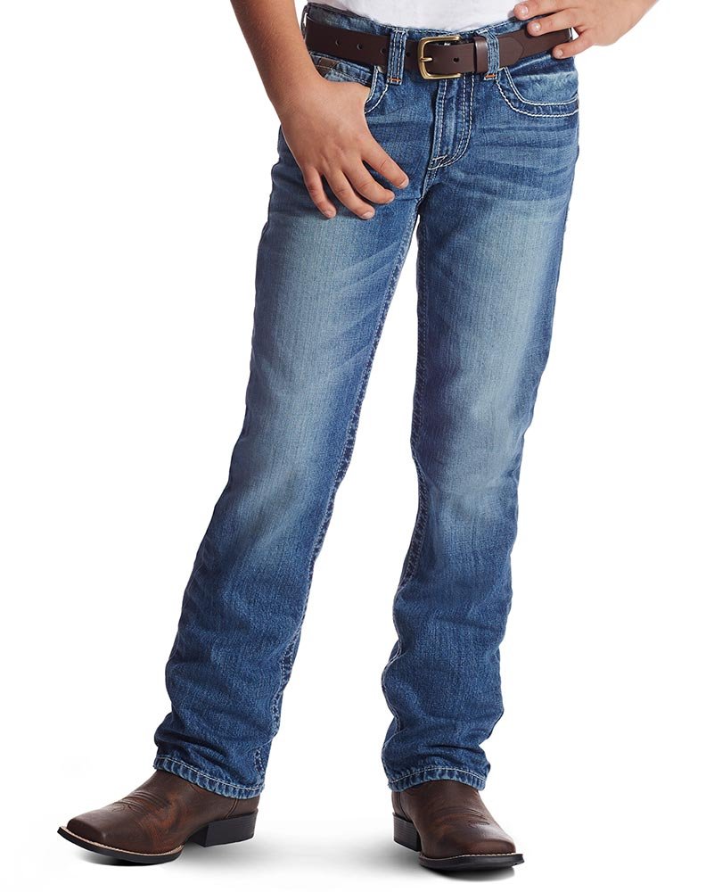 Ariat Boy's B5 Charger Slim Straight Leg Jeans - Medium Dark Wash (Closeout)
