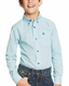 Ariat Boy's Irondale Long Sleeve Print Button Down Shirt - Turquoise (Closeout)