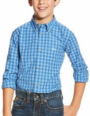 Ariat Boy's Long Sleeve Plaid Button Down Shirt - Blue (Closeout)