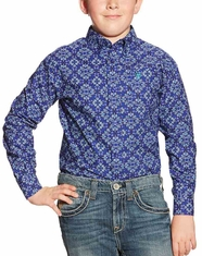 Ariat Boy's Long Sleeve Print Button Down Shirt - Blue (Closeout)