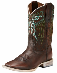 Ariat Children's Mesteno Square Toe Cowboy Boots - Brown