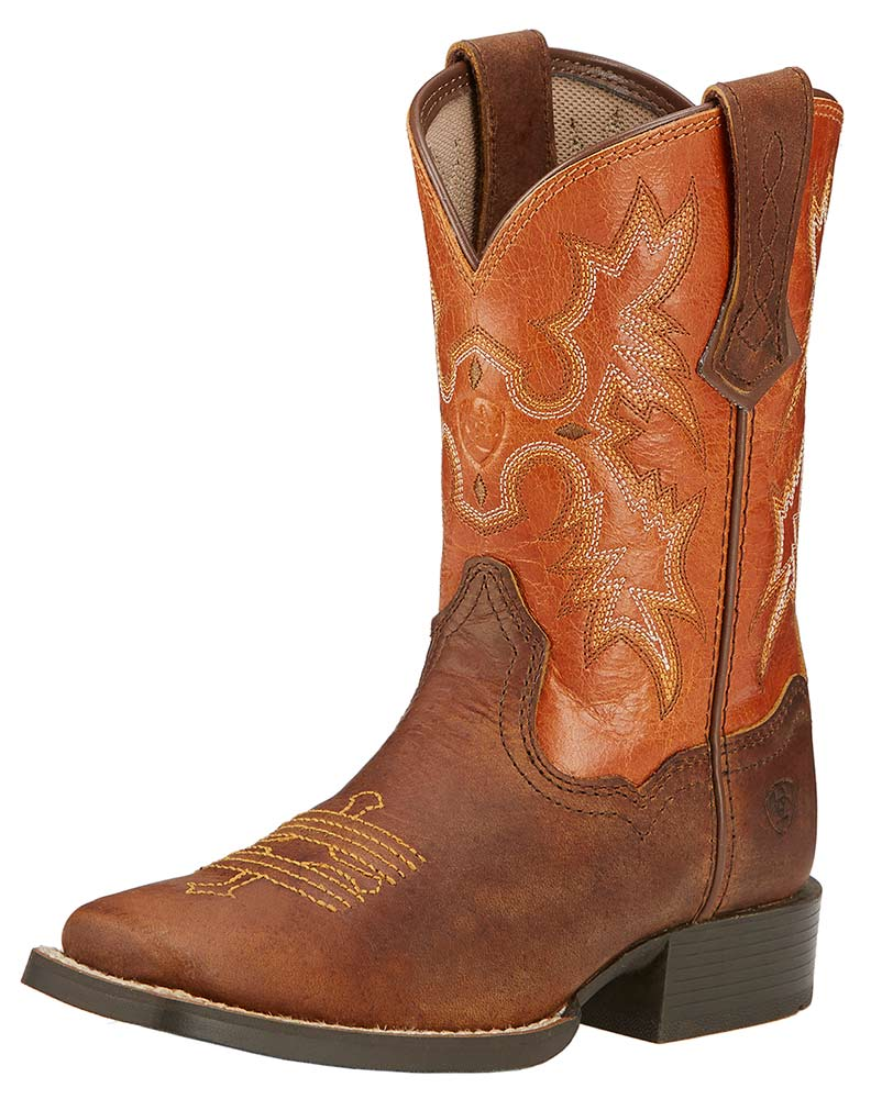 Ariat Childrens Tombstone Square Toe Cowboy Boots - Powder Brown/Sunnyside