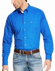 Ariat Men's Boyd Long Sleeve Print Button Down Shirt - Blue