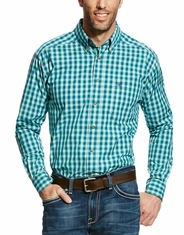 Ariat Men's Dimitri Long Sleeve Performance Plaid Button Down Shirt - Green