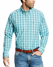 Ariat Men's Ellis Long Sleeve Performance Plaid Button Down Shirt - Blue