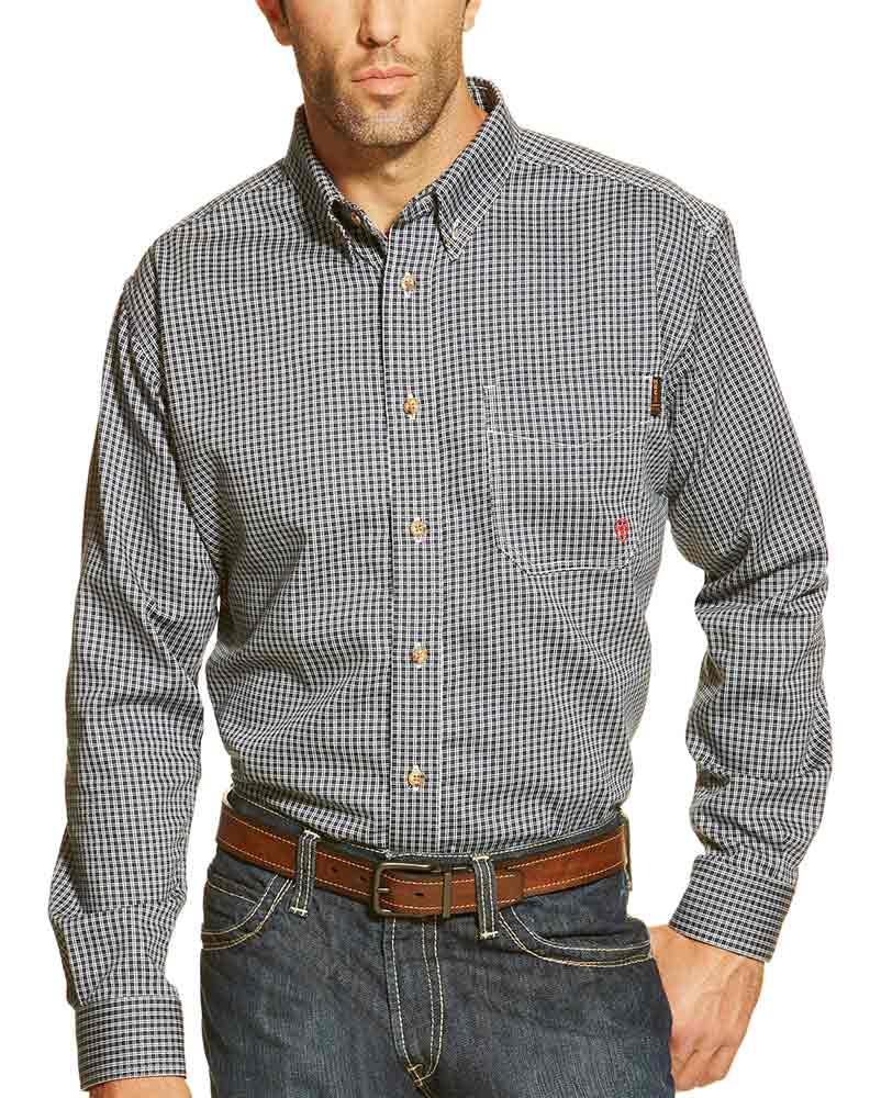 Ariat men 39 s fr long sleeve plaid button down work shirt blue for Blue button up work shirt