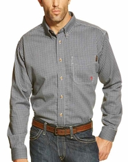 Ariat Men's FR Long Sleeve Plaid Button Down Work Shirt - Blue