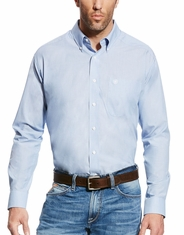Ariat Men's Kenzie Wrinkle Free Long Sleeve Solid Button Down Shirt - Blue