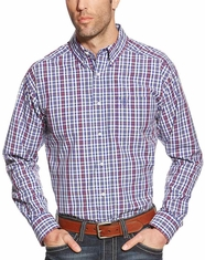 Ariat Men's Long Sleeve Classic Fit Plaid Button Down Shirt - Blue (Closeout)