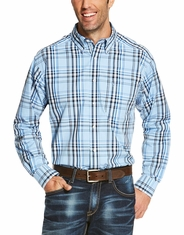 Ariat Men's Long Sleeve Classic Fit Plaid Button Down Shirt - Blue