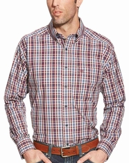 Ariat Men's Long Sleeve Classic Fit Plaid Button Down Shirt - Red (Closeout)