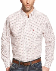 Ariat Men's Long Sleeve Classic Fit Print Button Down Shirt - White (Closeout)