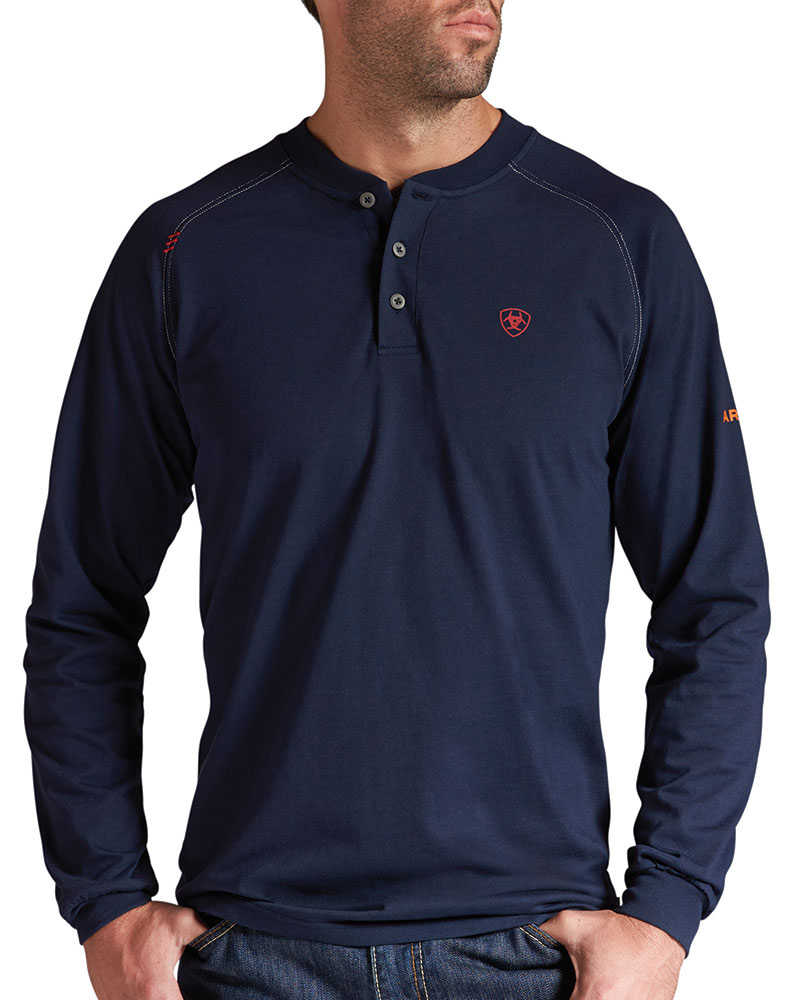 Ariat men 39 s long sleeve fire resist henley work shirt navy for Blue button up work shirt