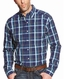 Ariat Men's Long Sleeve Fitted Plaid Button Down Shirt - Blue (Closeout)