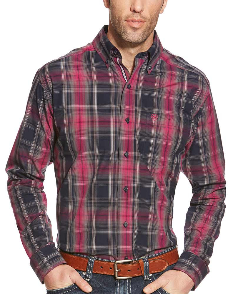 Ariat Men's Long Sleeve Fitted Plaid Button Down Shirt - Grey (Closeout)