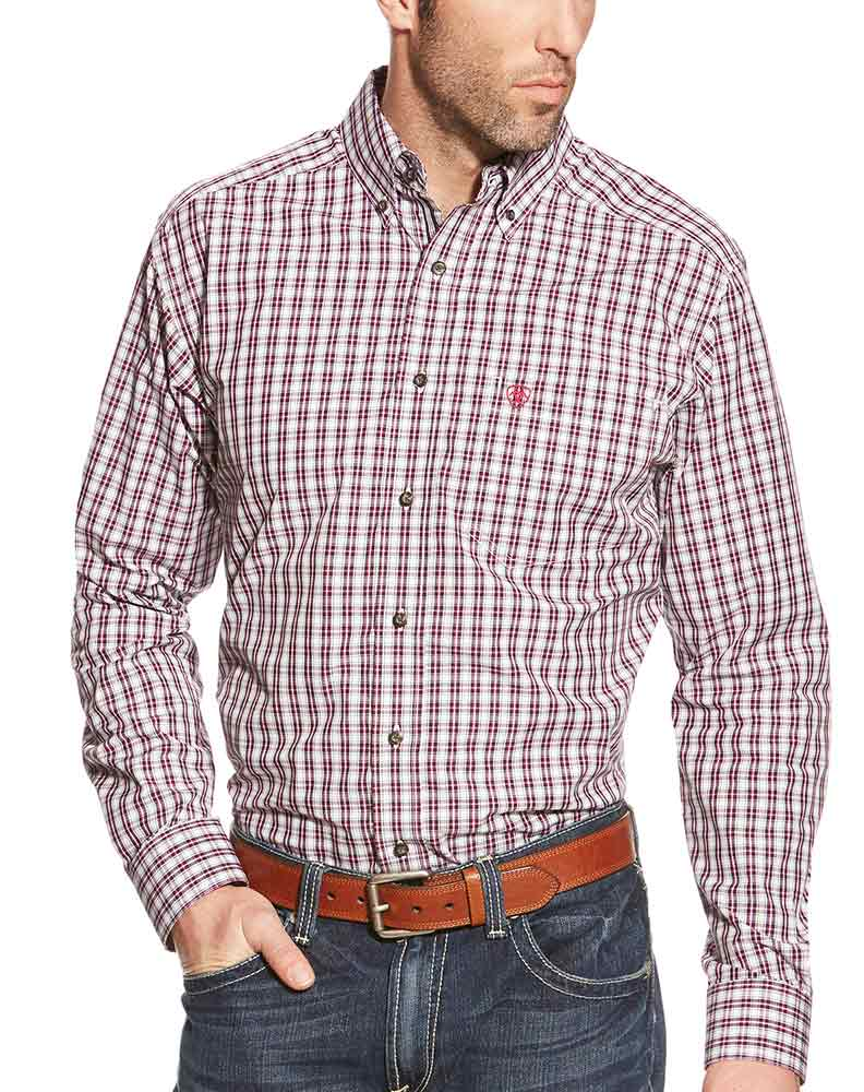 Ariat Men's Long Sleeve Fitted Plaid Button Down Shirt - Pink (Closeout)