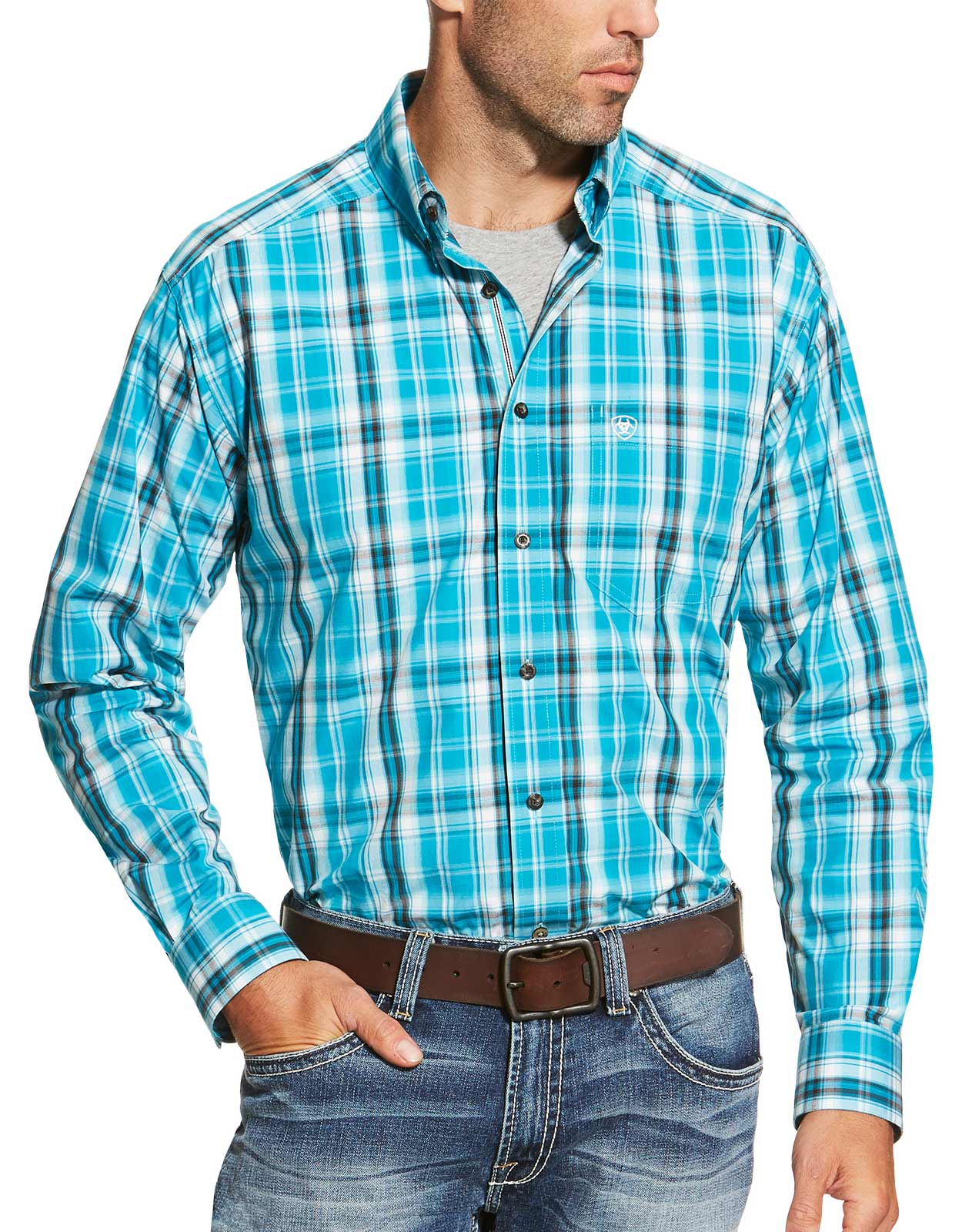 Ariat Men's Long Sleeve Plaid Button Down Shirt - Blue