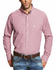 Ariat Men's Long Sleeve Plaid Button Down Shirt - Pink