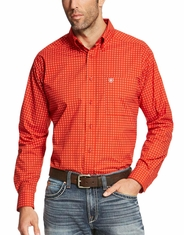 Ariat Men's Long Sleeve Print Button Down Shirt - Orange