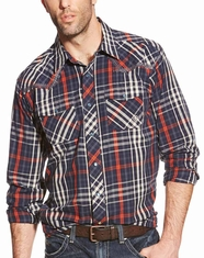 Ariat Men's Long Sleeve Retro Fit Plaid Snap Shirt - Blue (Closeout)