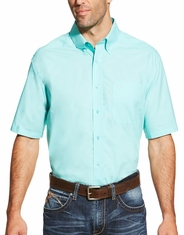 Ariat Men's Long Sleeve Solid Twill Button Down Shirt - Aqua