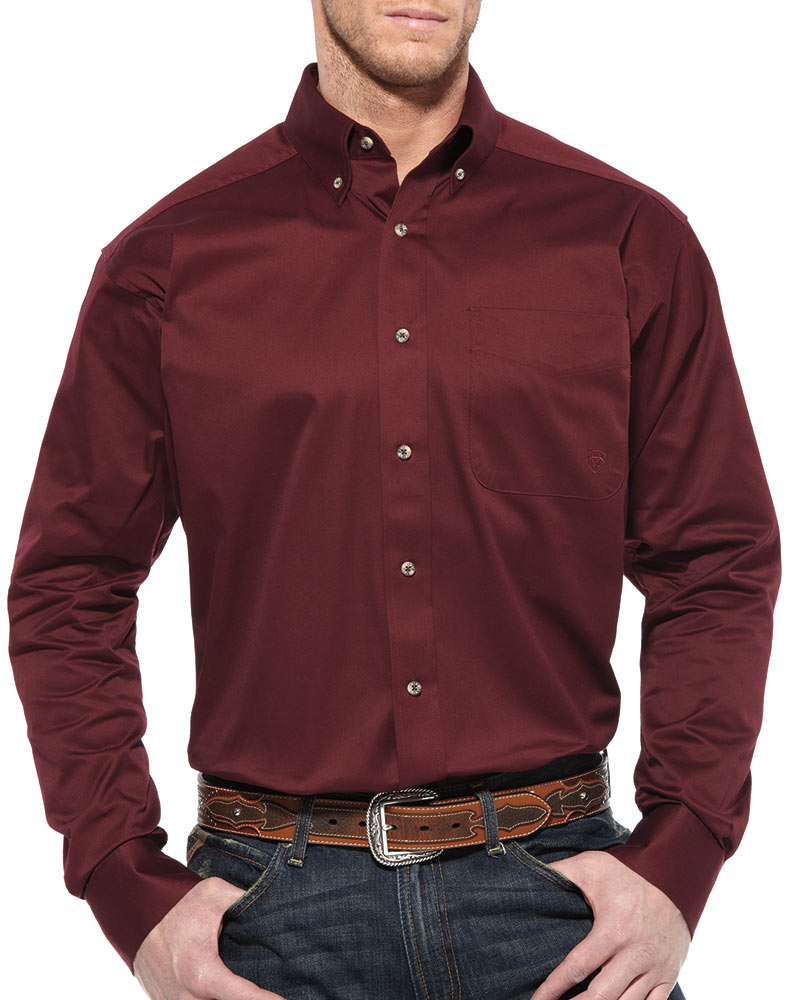 Ariat Men's Long Sleeve Solid Twill Button Down Shirt - Burgundy