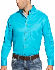 Ariat Men's Long Sleeve Solid Twill Button Down Shirt - Turquoise
