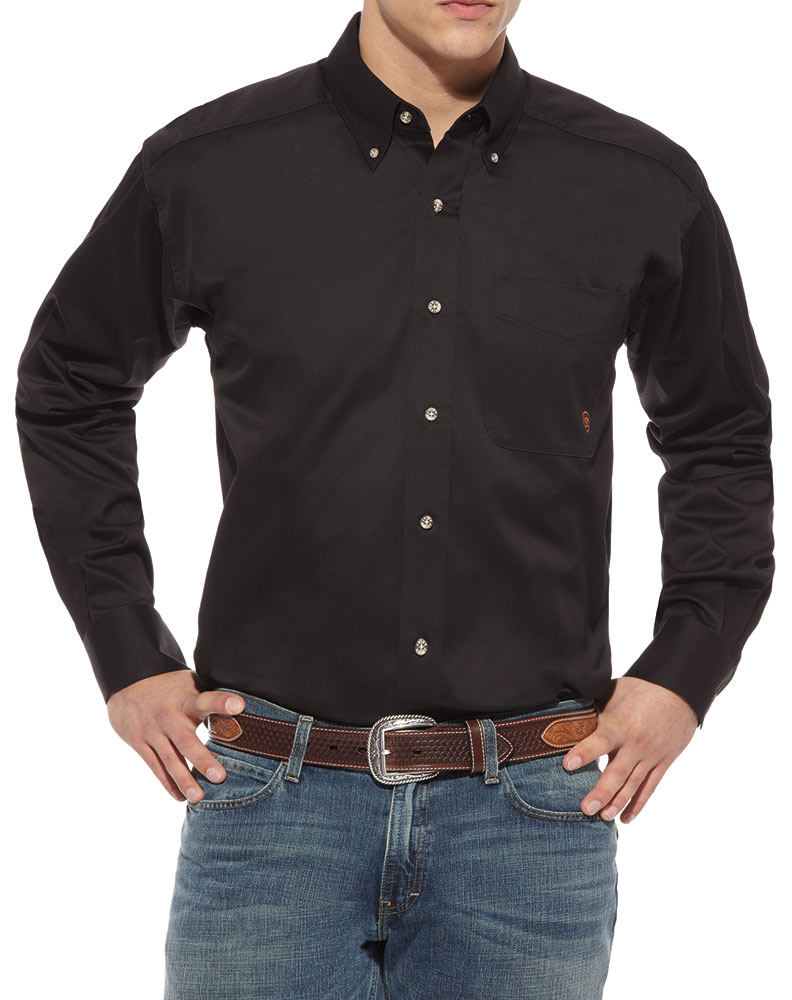 ariat men 39 s long sleeve solid twill shirt black