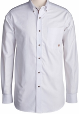 Ariat Men's Long Sleeve Western Solid Twill Button Down Shirt - White